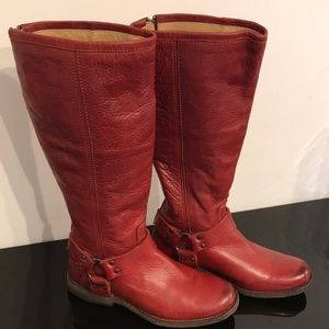 FRYE BURNT RED PHILLIP HARNESS TALL BOOTS